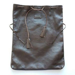 Dolce&Gabbana Leather Drawstring Bag Pouch - Brown